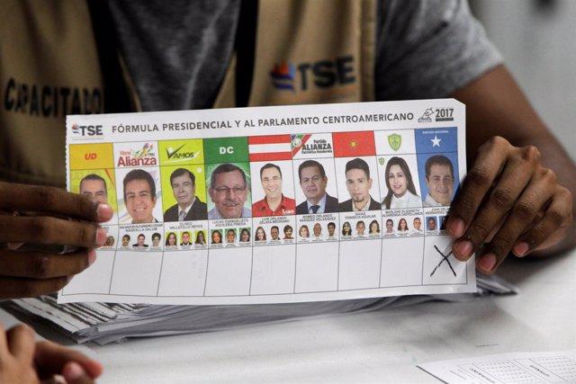 Papeleta electoral en Honduras