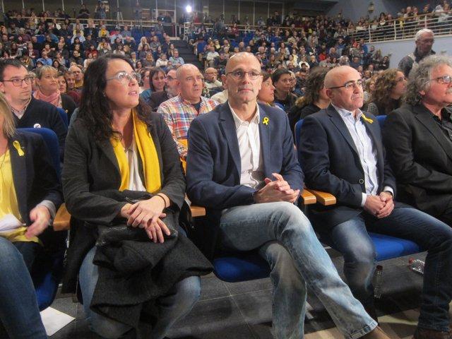 D.Riba, els candidats d'ERC R.Romeva i O.Peris
