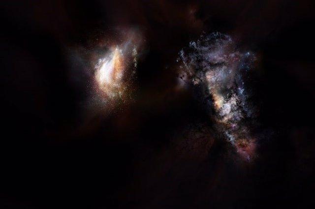 Representación artística de un par de galaxias en los comienzos del Universo.