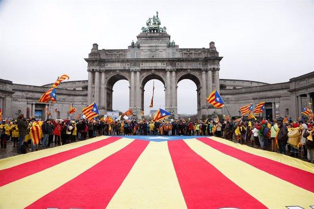 Manifestación de independentistas en Bruselas