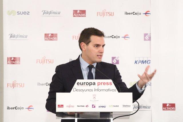 Albert Rivera en els Esmorzars d'Europa  Press