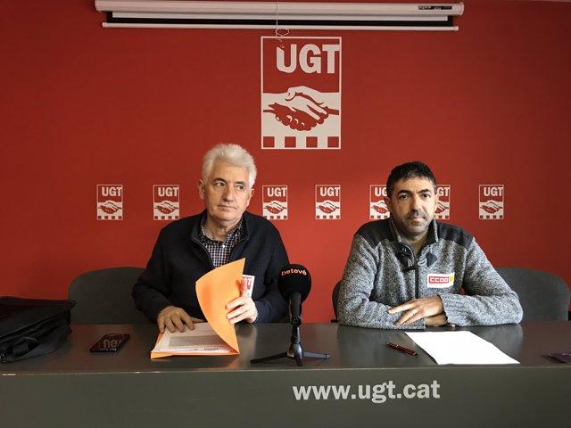 José Feijoo (UGT) i Benjamí Momblant (CCOO)
