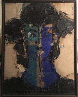 Manolo Valdés, Retrat amb rostre verd i blau, 2017, Acrílic sobre llenç