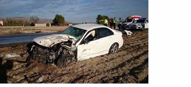 Uno de los dos coches implicados en el accidente