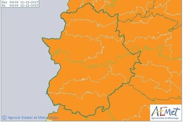 Mapa de avisos por vientos de Aemet para Extremadura