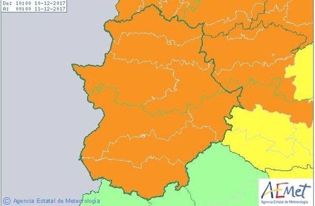 Avisos naranjas por vientos en toda Extremadura