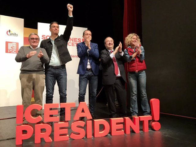 Àngel Ros, Pedro Sánchez (PSOE), Òscar Ordeig y Miquel Iceta, PSC