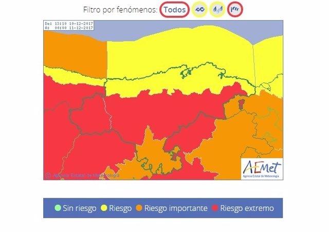 Avisos meteorológicos de Cantabria para este domingo