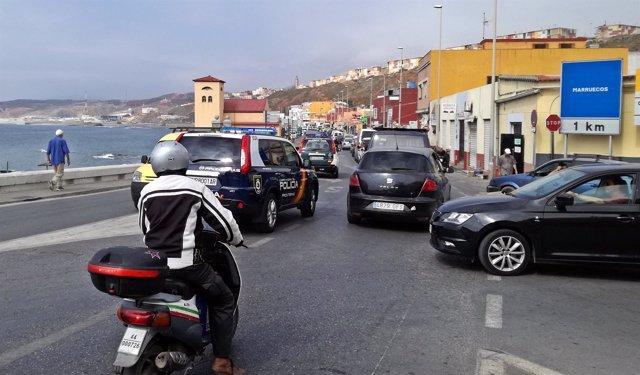 Atasco en frontera de Ceuta