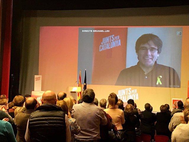 Carles Puigdemont en un acto en Mollerussa