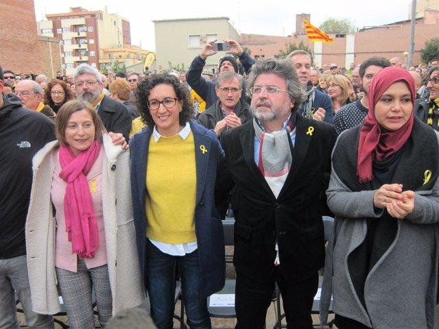Los candidatos de ERC C.Forcadell, M.Rovira, T.Castellà y N.Driouech