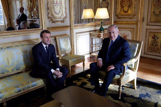 Emmanuel Macron y Benjamin Netanyahu - Diciembre 2017