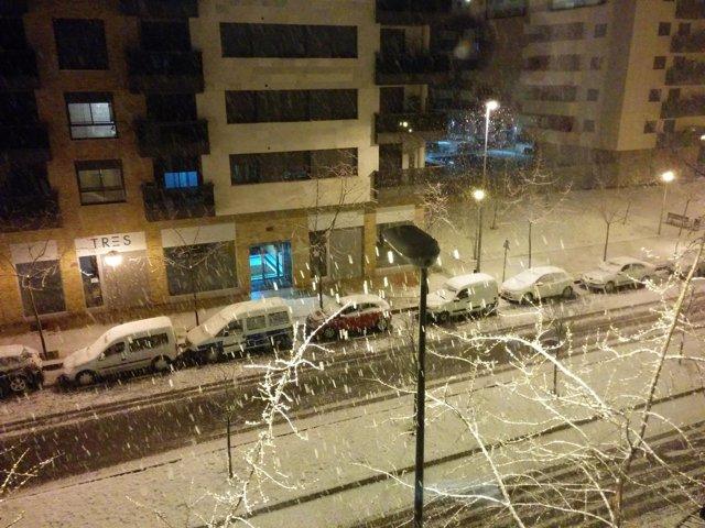 Imagen de la nevada de anoche en Logroño