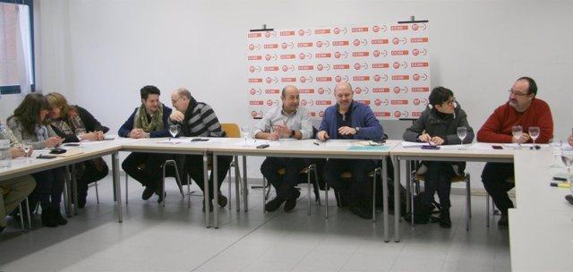 Reunión de este lunes entre las ejecutivas de CCOO y UGT en Aragón.