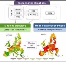 Influencia del cambio climático en la agricultura europea en 2030