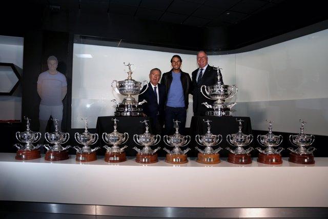 Rafa Nadal junto a Javier Godó y Albert Agustí