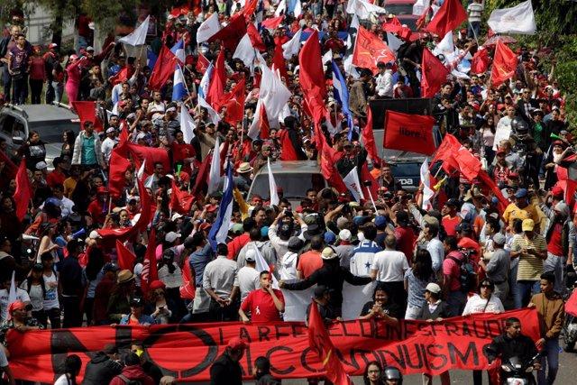 Manifestación durante el paro nacional en Honduras