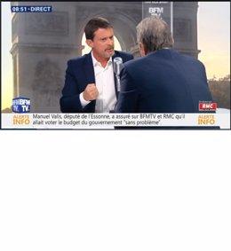 Ex primer ministro francés, Manuel Valls, en BFMTV