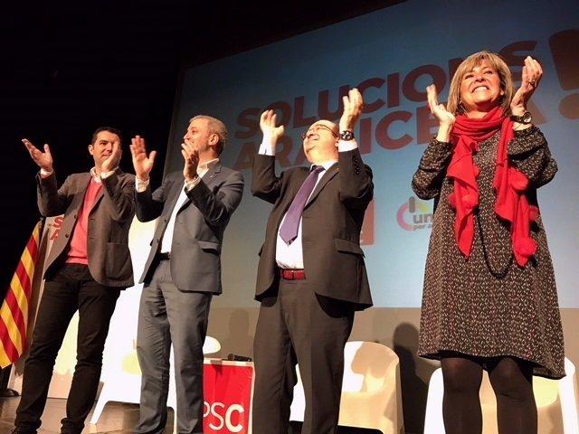 Xavier Amor, Jaume Collboni, Miquel Iceta y Núria Marín, PSC