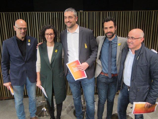 Els candidats d'ERC R.Romeva, M.Rovira, B.Solé, R.Torrent, O.Peris