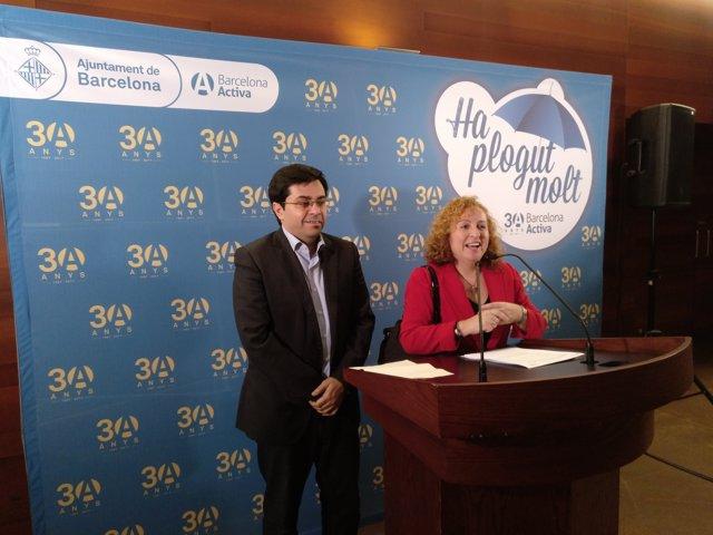 Gerardo Pisarello i la directora de Barcelona Activa, Sara Berbel