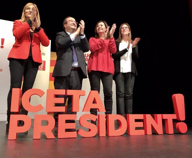 A.M.Martínez, M.Iceta (PSC), la pta.F.Armengol y M.Mas, PSC