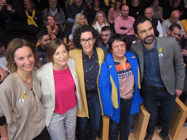 Los candidatos de ERC A.Caula, C.Forcadell, M.Rovira, D.Bassa y R.Torrent