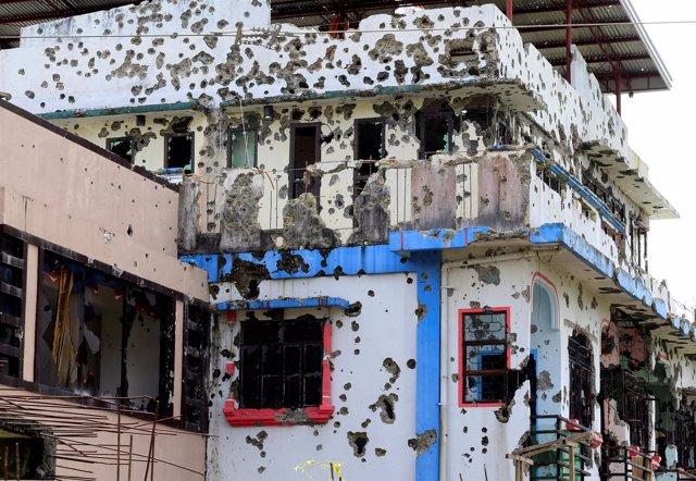 Vivienda del área residencial de Malutlut, en Marawi.