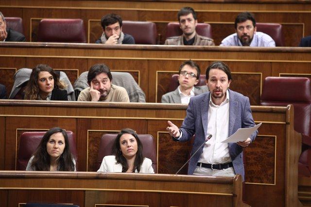 Pablo Iglesias en la sessió de control al Congrés