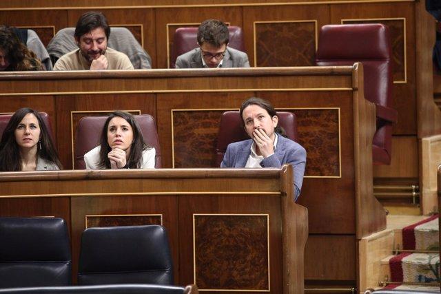 Pablo Iglesias en la sesión de control en el Congreso