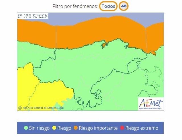 Cantabria, en aviso naranja por oleaje el jueves 14 de diciembre