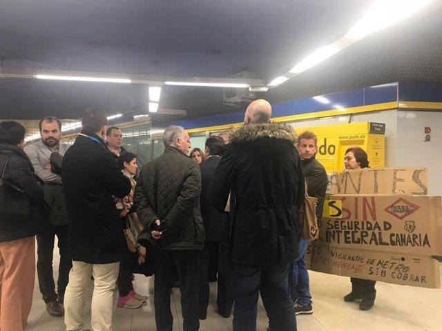 Protesta de vigilantes de seguridad en Metro de Madrid