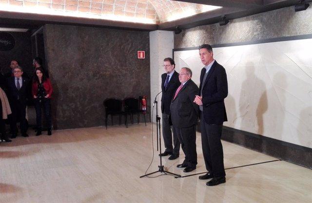 Mariano Rajoy, Xavier García Albiol (PP) y José Luís Bonet (Freixenet)
