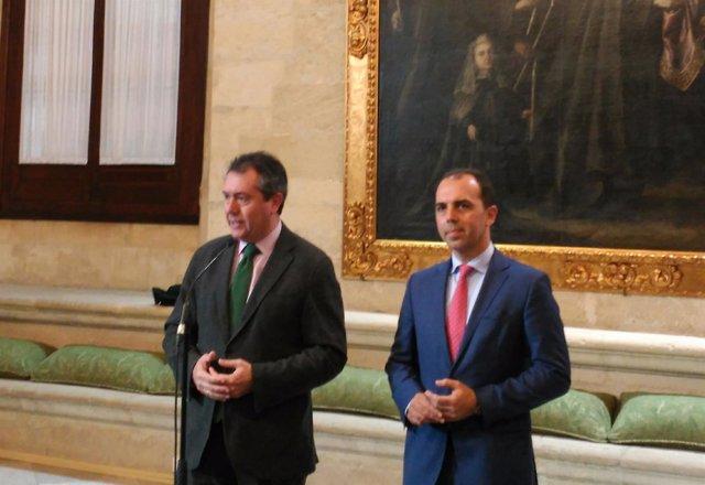 Juan Espadas y Javier Millán presentan el acuerdo de presupuestos para Sevilla