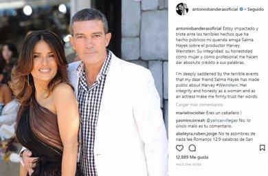 """Antonio Banderas en apoyo de Salma Hayek: """"Estoy impactado y triste ante los terribles hechos"""""""