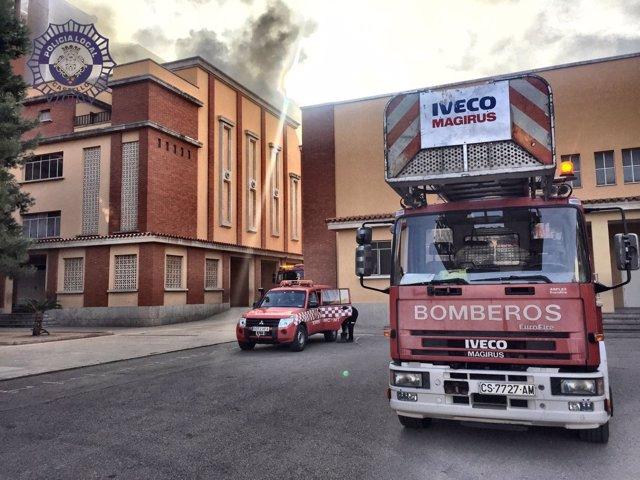 Incendio en un colegio en Castellón