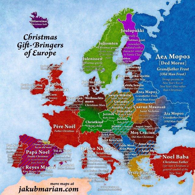 Mapa de cómo se dice Papá Noel en todos los países de Europa