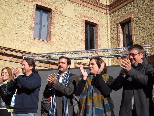 Pablo Iglesias, Alberto garzón, Ada Colau y Xavier Domènech