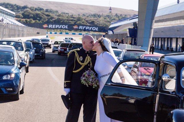 Una pareja de recien casados ha participado en estas jornadas