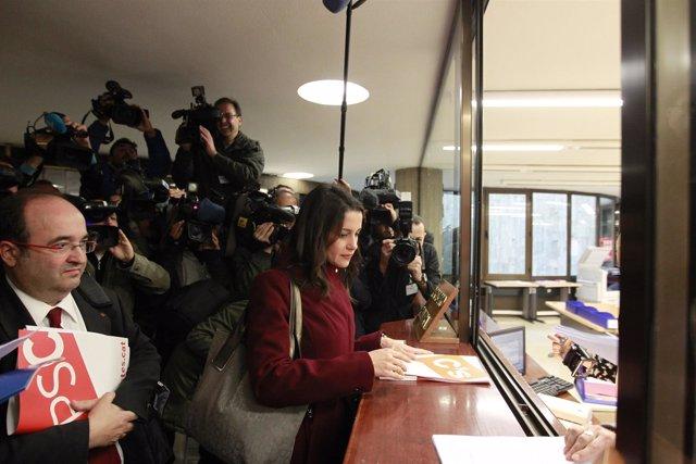 Inés Arrimadas y Miquel Iceta en el Tribunal Constitucional