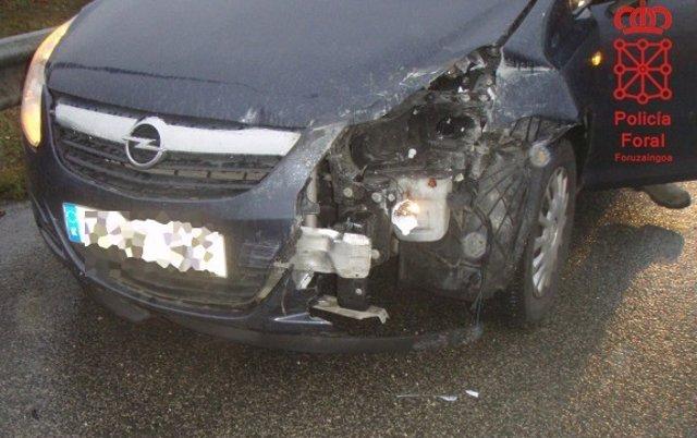 Colisión de un vehículo atendida por Policía Foral