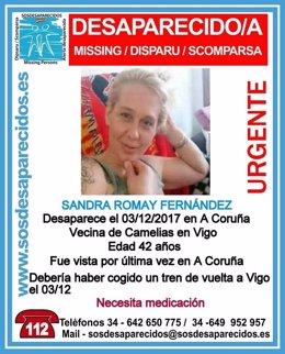 Sandra Romay, desaparecida en A Coruña el 3 de diciembre