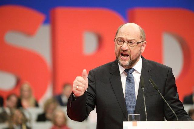 Martin Schulz interviene en el congreso del SPD