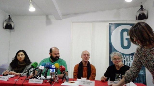 Concejales de Ganemos Madrid (Rommy Arce, Pablo Carmona y Montserrat Galcerán)