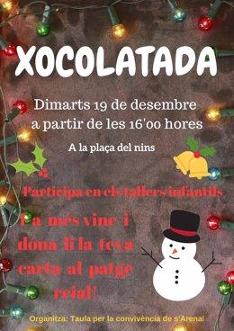 Cartel de las actividades navideñas organizadas para el martes 19 de diciembre