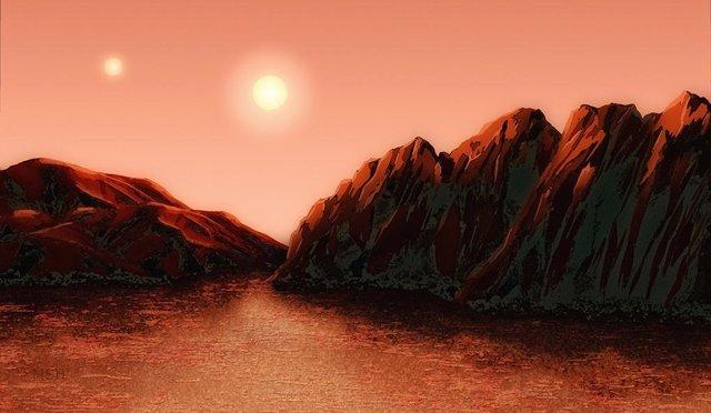 Recreación artística de superficie de planeta en zona habitabe de Alpha Centauri