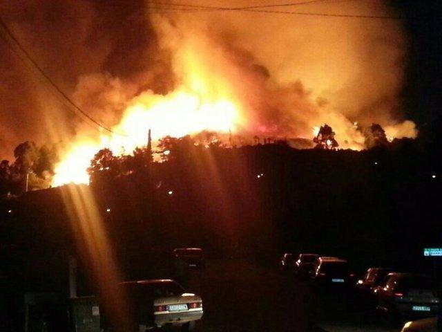 Incendio forestal en Ponte Caldelas