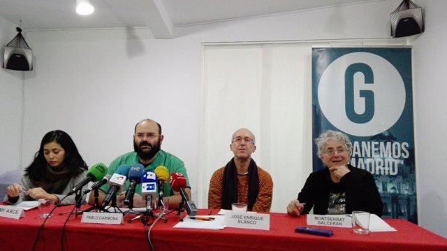 Los concejales de Ganemos (Rommy Arce, Montserrán Galcerán y Pablo Carmona)
