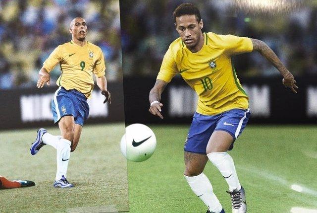 Ronaldo Nazario y Neymar Jr con la camiseta de Brasil