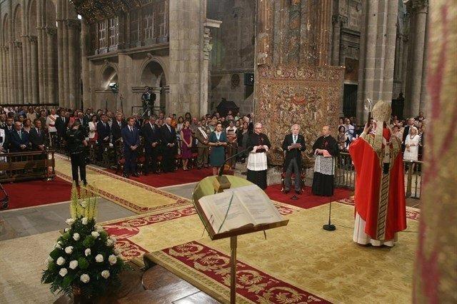 Miguel Santalices, presidente del Parlamento, en la ofrenda al Apóstol en 2016